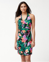 TOMMY BAHAMA $145 Stretch Marabella Blooms Tambour Halter Dress Size Medium