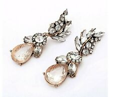 Statement Gold Clear Crystal Large Dangle Stud Drop Earrings UK Shop