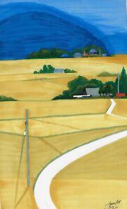 original drawing 11,5 x 19 cm 52PIr art samovar marker modern landscape Signed