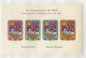Paraguay, Postage Stamp, #C303,609 Note Mint NH, 1961 Tennis, JFZ