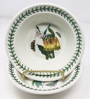 Portmeirion Botanic Garden Lot of 2 Cereal Oatmeal Rimmed Bowls Floral Butterfly