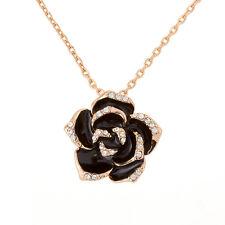 """18K plaqué or rose 26mm noir émail rose collier pendentif 18"""" chaîne (H41/1)"""