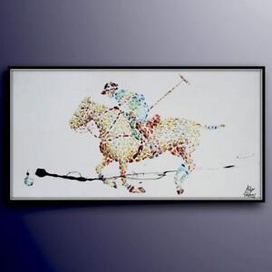 "Polo 67"" Classic original oil painting, polo game, horse, animal, sport, impasto"