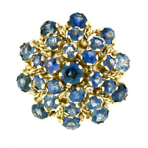 Vintage 14k Yellow Gold 3.36ctw Round Blue Sapphire Tiered Pyramid Cocktail Ring