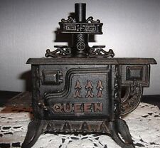 Antique Queen Cast Iron Wood Burning Stove Toy or Salesman Sample.