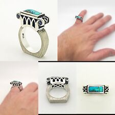 Handmade Silver Ring with Turquoise & Blue Sapphires, Ancient Retro Love Modern