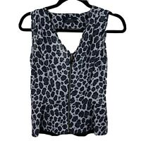 CUE Women's Size 6 Leopard Animal Print Sleeveless Casual Zip Front Top Blouse