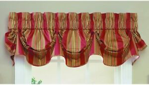 Waverly Sweetwater Stripe Tucked Window Curtain Valance Scalloped Red Gold Green
