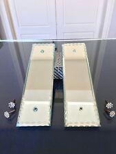 1 paire plaques propreté miroir biseauté et cache vis verre Art Déco vintage  2