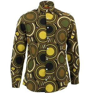 Mens Shirt Loud Originals TAILORED FIT Circles Green Retro Psychedelic Fancy