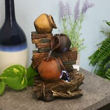 """Sunnydaze Rustic Brick Wall and Jugs Tabletop Fountain Feature with LED - 10.5"""""""