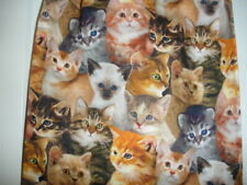 Cute Baby Kittens Faces Allover Print Cotton Fabric Plastic Grocery Bags Holder