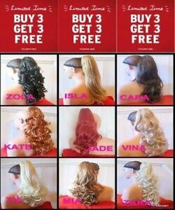 Clip in Ponytail Hair Piece Curly Wavy auburn blonde Brown Plum Red Burgundy