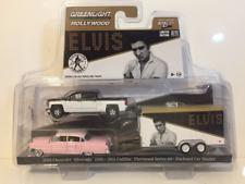 Elvis 1955 Cadillac Chevy 2015 Silverado et Voiture Remorque Set Greenlight