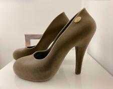 Brand New, Vivienne Westwood Grey Velvet Heels Round Toe Pumps Us 7 Eur 38