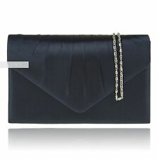Navy Satin Wedding Ladies Party Prom Evening Clutch Hand Bag Purse Handbag