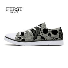 First Dance Skull Canvas Shoes for Man Cool Paisley Print Fashion Sneakers