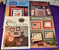 Lot 4 Cross Stitch Booklets: Pooh, Cricket Collection, American Flags, Patriotic