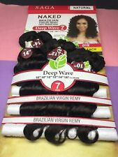 SAGA NAKED BRAZILIAN VIRGIN_100% HUMAN HAIR NATURAL_DEEP_WAVE_7PCS_#NATURAL*