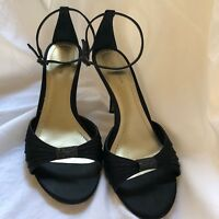 Ann Taylor Womens Strappy Sandals High Heels Black Leather Soles Fabric Upper 9M