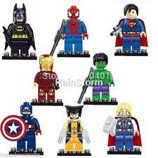8 Pcs Superhero Mini Figures NEW UK Seller Fits Lego Batman Spider Man Hulk Iron