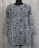 Indian Block Print Women Wear Indian Cotton Kurti Dress Top Tunic V Neck L size
