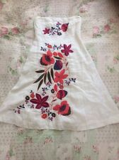 Stunning WAREHOUSE White Linen Embroidered Strapless Dress-size 10. Hardly Worn