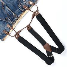 Fashional Men's Suspenders Braces Adjustable Leather Button Holes Black BD705
