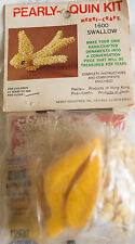 Vintage Christmas Pearly-Quin SWALLOW BIRD Yellow Ornament Kit DIY Beading
