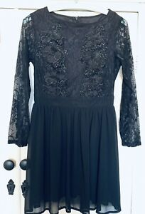 Boohoo Brand New With Tags Black Leila Lace Panel Detail Skater Dress Size UK 8