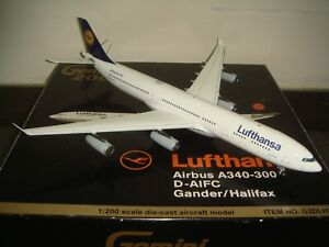 "Gemini Jets 200 Lufthansa A340-300X ""2000s color - Gander/Halifax"" 1:200 DIECAST"