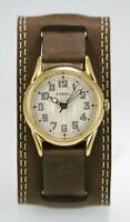 Fossil Watch Mens Beige Stainless Steel Gold Wide Leather Brown Battery Quartz