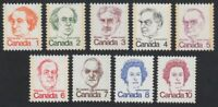 CARICATURE DEFINITIVES = PRIME MINISTERS = QUEEN = MNH Canada 1973-76 #586-93A