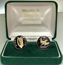 1966 IRELAND cufflinks from OLD IRISH Farthing coins Black Gold