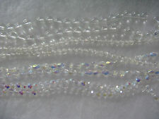 296 Clear & Iridescent Color Glass Beads Oval Round Faceted Spacer Beads C4x2