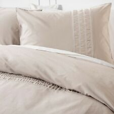 NATE BERKUS 3 PIECE FULL/QUEEN DUVET COVER WITH SHAMS EMBROIDERED KHAKI TAN