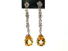 4.76 CT Natural diamond & yellow citrine custom made earrings VS2/H 14K wh Gold