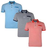 Kangol Men's Cotton Piqué Polo Shirt Jersey Top T-shirt Navy Sky Red Marl New
