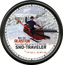Polaris Snow Mobile Sno-Traveler Snowmobile Racing Dealer Sign Retro Wall Clock