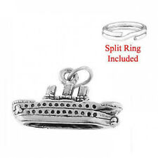 "STERLING SILVER ""CRUISE SHIP/ TRAVEL"" CHARM WITH ONE SPLIT RING"