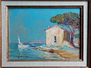 TABLEAU ancien signé ELIE BERNADAC Peinture huile bois Marine port saint Tropez