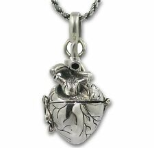 """Anatomical Heart Necklace Solid Sterling Silver Message Holder Pill Box Open 24"""""""