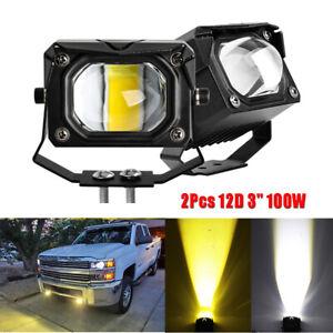 "2pcs 3"" 12D 100W Dual Color LED Headlight Spot Light Fog Lamp For Car Truck 4WD"