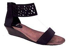 BUCCO Capensis Black Cut Out Open Toe BOBBI Wedge Sandals Size 8