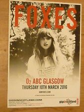 Foxes - Glasgow march 2016 tour concert gig poster