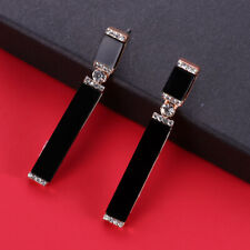 1Pair Gold&Black Rhinestone Crystal Long Strip Dangle Earring Jewelry Women Gift