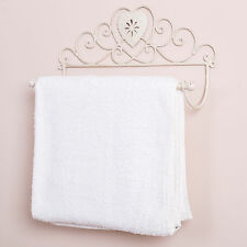 Shabby Chic Heart French Antique White Wall Mounted Towel Rail Vintage Style