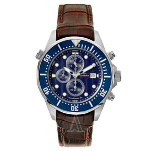 Men's Rotary AGS00070/C/05 Aquaspeed Chronograph Blue Dial Brown Leather Watch