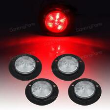 """(4)2"""" Clear Lens Red Round Sealed Clearance Light 6LED Recessed Flush Mount"""