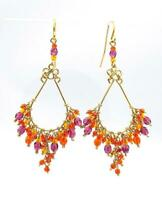 GORGEOUS Artisanal Orange Purple Topaz Multi Crystals Gold Chandelier Earrings